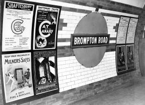 Brompton Road station platform in the 1920s