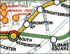 Brompton Road station on a 1912 map