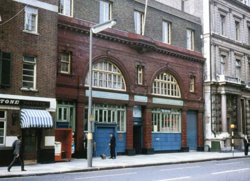 Brompton Road station entrance as seen before 1972