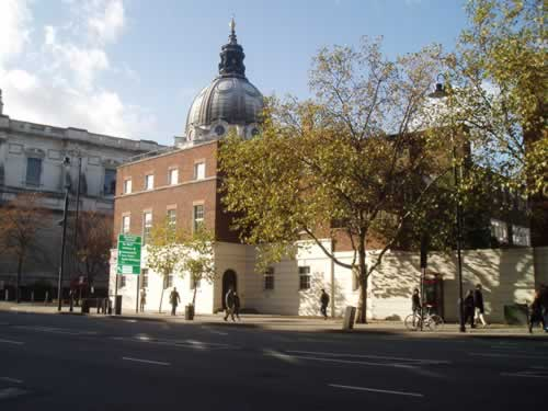 The Brompton Road station site today, with Brompton Oratory in the background